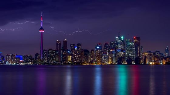 Lightning over Toronto wallpaper