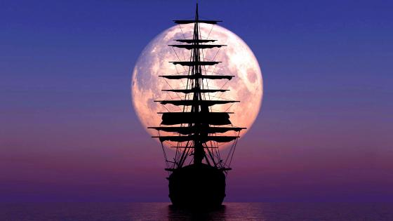 Ship silhouette in front of full moon wallpaper