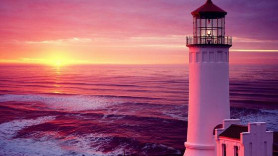 North Head Lighthouse in the pink sunset wallpaper