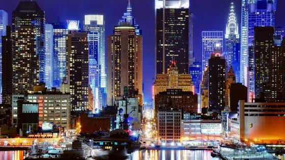 View of New York at night wallpaper