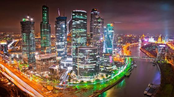 Moscow night skyline wallpaper