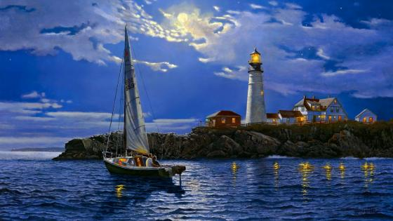 Portland Head Light painting art wallpaper