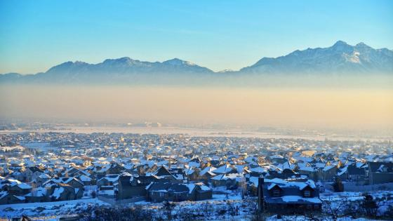 Salt Lake City in winter wallpaper