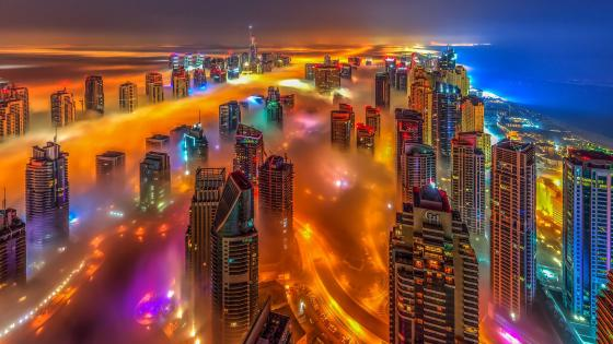 Foggy Dubai skyline (UAE) wallpaper