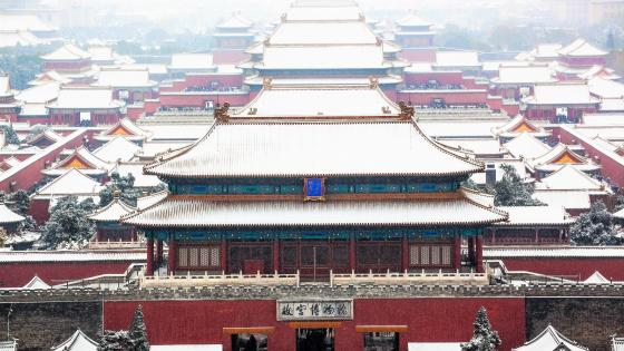 Forbidden City under snow wallpaper