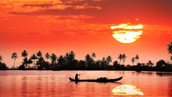 Kerala backwaters sunset reflection wallpaper