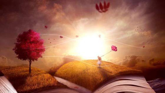 Child Girl Story Book Surreal wallpaper