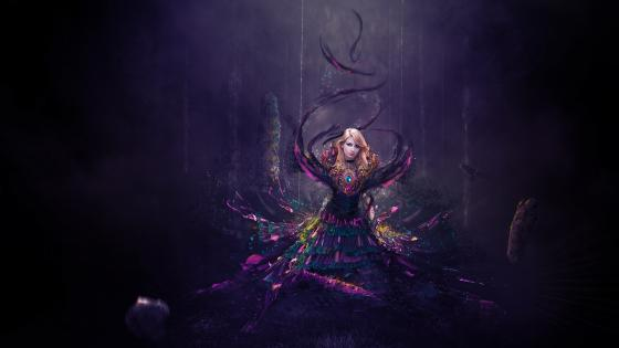 Purple fairytale art wallpaper