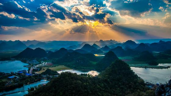 Karst landscape of Puzhehei at sunset wallpaper