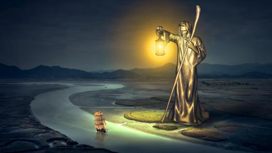 Saint Christopher - Surreal fantasy art wallpaper