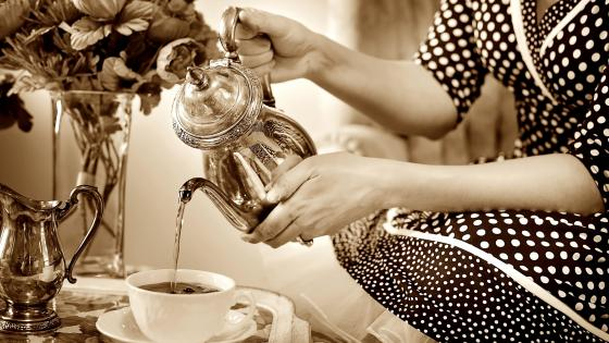 Vintage Tea Party - Black And White Photography wallpaper