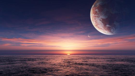 Sunset and moons - Fantasy landscape wallpaper