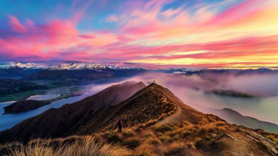 Roys Peak at sunset (Wanaka, New Zealand) wallpaper