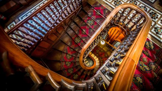 Larnach Castle staircase wallpaper