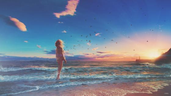 Girl At Beach - Anime art wallpaper