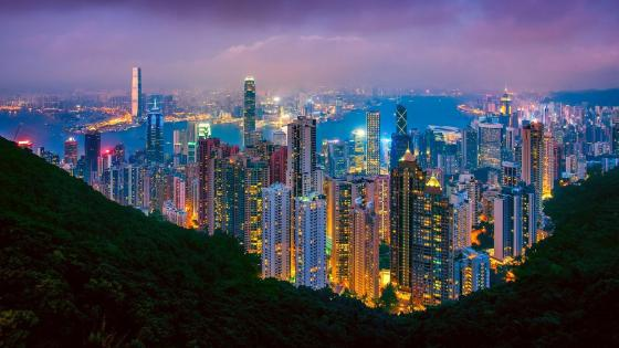 Hong Kong skyline at dusk from Victoria Peak wallpaper