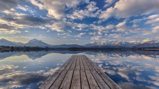 Pier over Hopfensee in Bavaria wallpaper