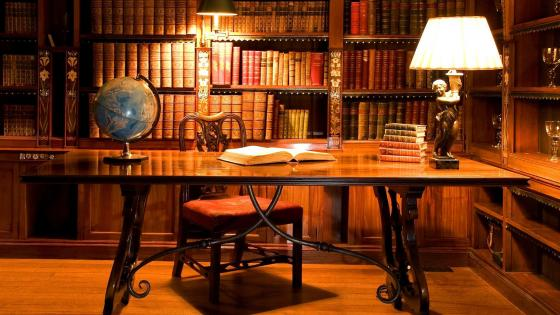 Antique Library Desk wallpaper
