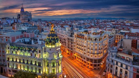 Gran Vía at dusk (Madrid, Spain) wallpaper