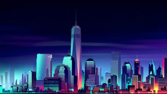 One World Trade Center - Retrowave neon art wallpaper