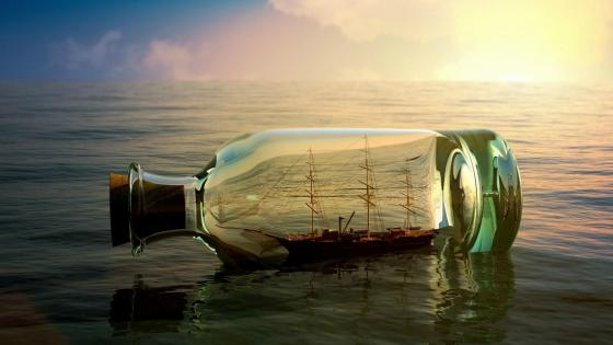 Old sailing boat in the bottle wallpaper