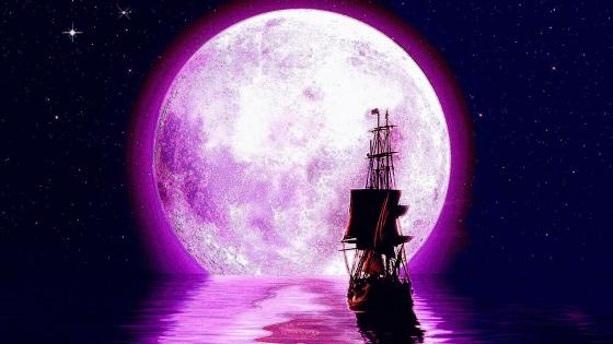 Full Moon  Stars And Ship wallpaper