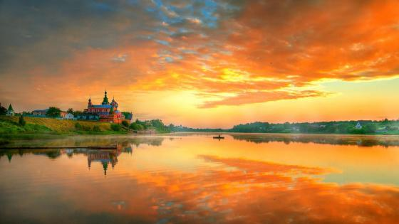 Staraya Ladoga ancient city and Volkhov River wallpaper