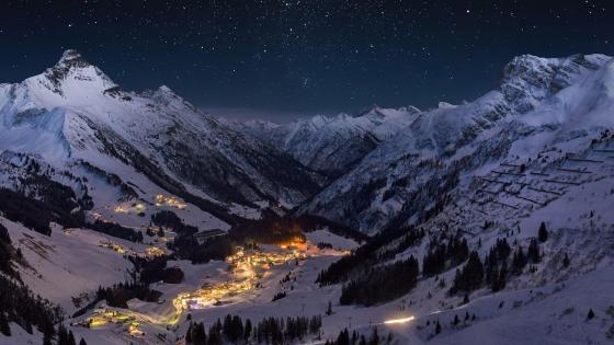 Illuminated Mountain Village wallpaper