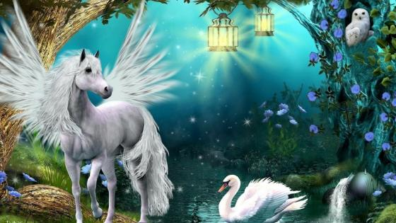 Winged white horse wallpaper