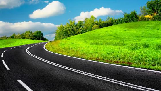 Green and Road wallpaper