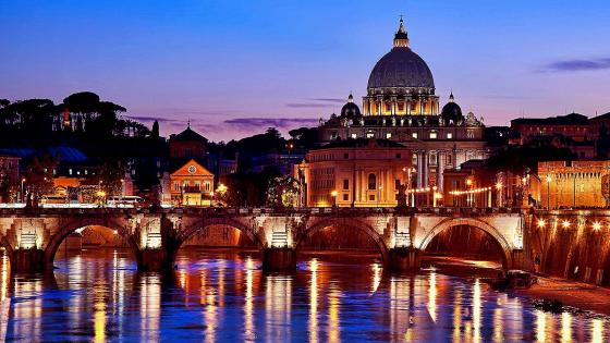 Rome Along Tiber With St. Peter Basilica wallpaper