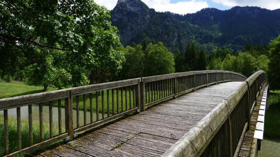 Footbridge over the canal wallpaper