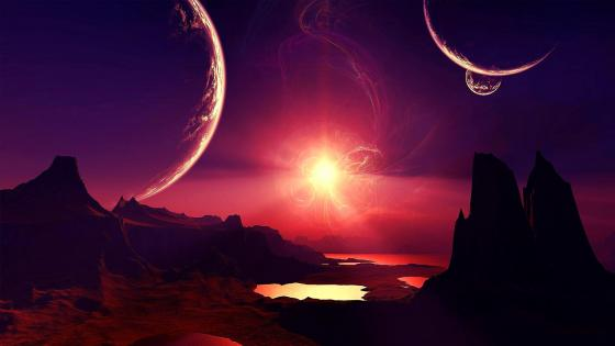 Alien planet landscape fantasy art wallpaper