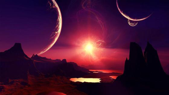 Alien planet landscape fantasy art wallpaper