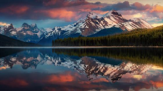 Maligne Lake reflection wallpaper