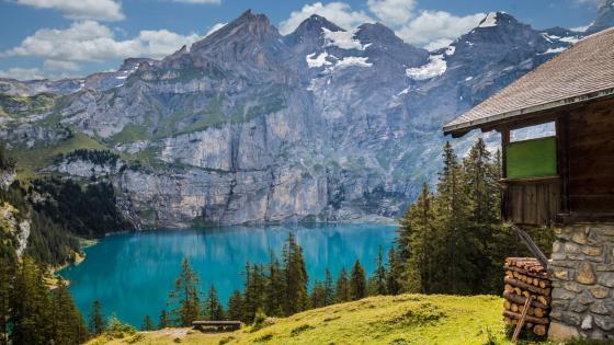 Oeschinen Lake (Oeschinensee, Switzerland) wallpaper