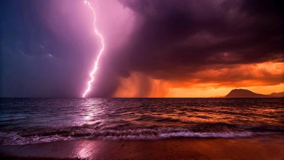 Kalamaki Beach Lightning Storm wallpaper