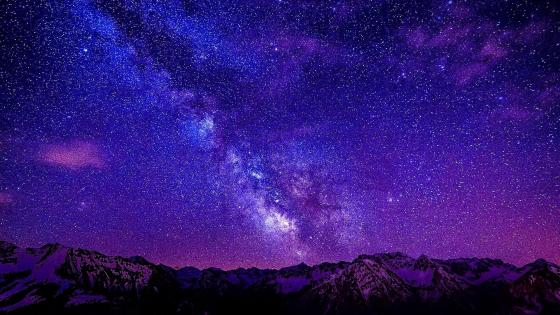 Milky Way over the mountains wallpaper