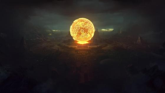 Planetary small Sun reactor fantasy art wallpaper
