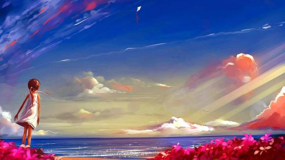 Little girl with kite near the sea painting art wallpaper