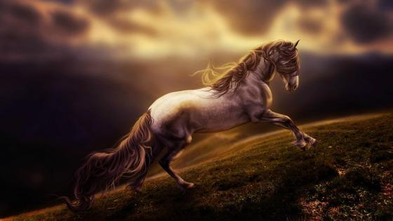 Running horse in hillside meadow - Fantasy digital art wallpaper