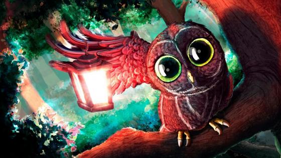 Owl with lantern illustration wallpaper