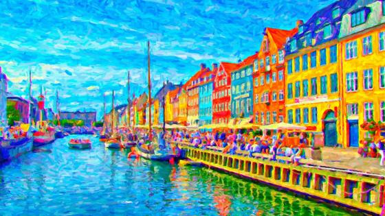 Canal painting (Nyhavn, Copenhagen, Denmark ) wallpaper