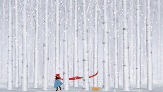 Birch forest snowfall wallpaper