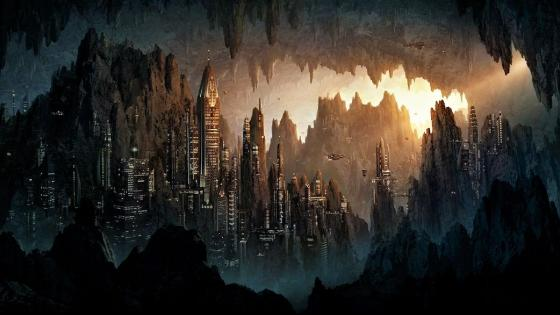 A city in a cave wallpaper