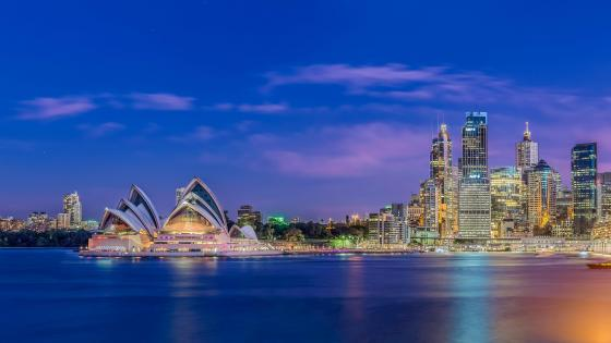 Sydney cityscape at dusk wallpaper