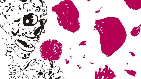 Skull with flower wallpaper