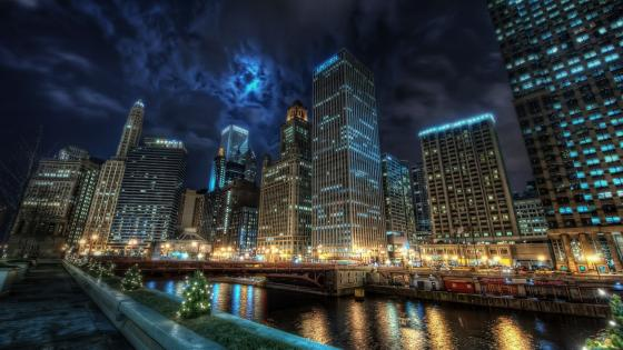 Chicago Riverwalk at night wallpaper