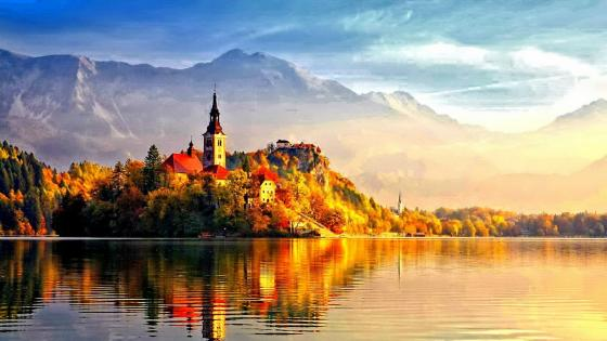 Bled Island at fall wallpaper