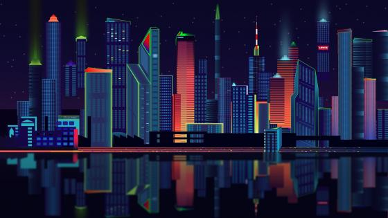Skyscrapers at night retrowave digital art wallpaper